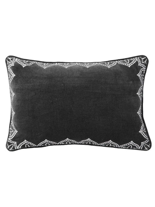 Embroidered Charcoal Velvet Cushion