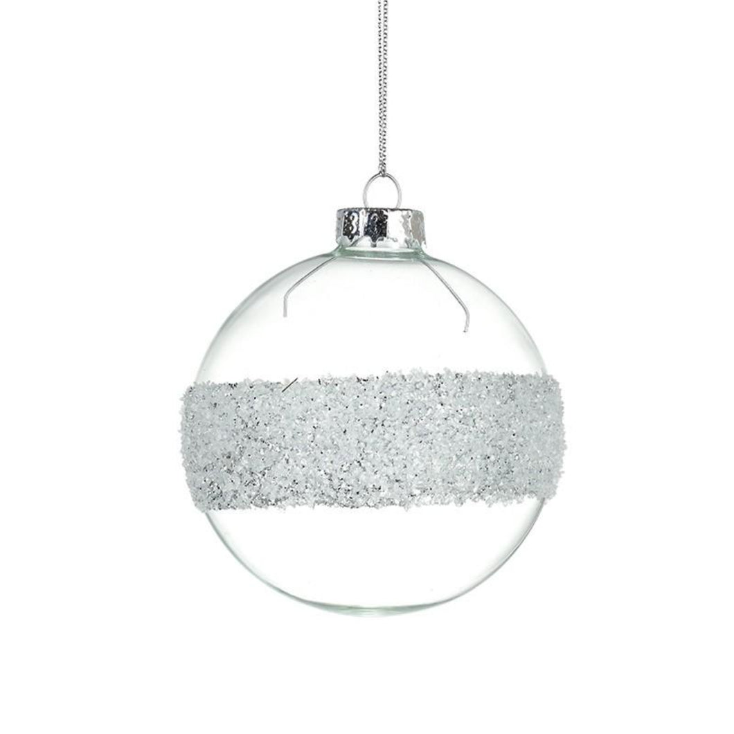 Glass Bauble With Silver Bead Stripe