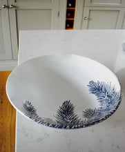 Load image into Gallery viewer, Blue & White Feathery Fern Serving Bowl