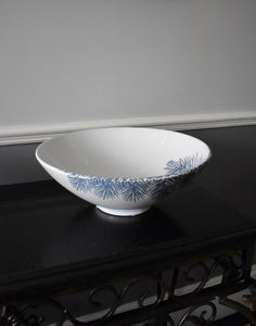 Blue & White Feathery Fern Serving Bowl