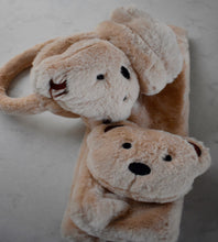 Load image into Gallery viewer, Super Soft Faux Fur Children's Brown Teddy Bear Ear Muffs & Scarf