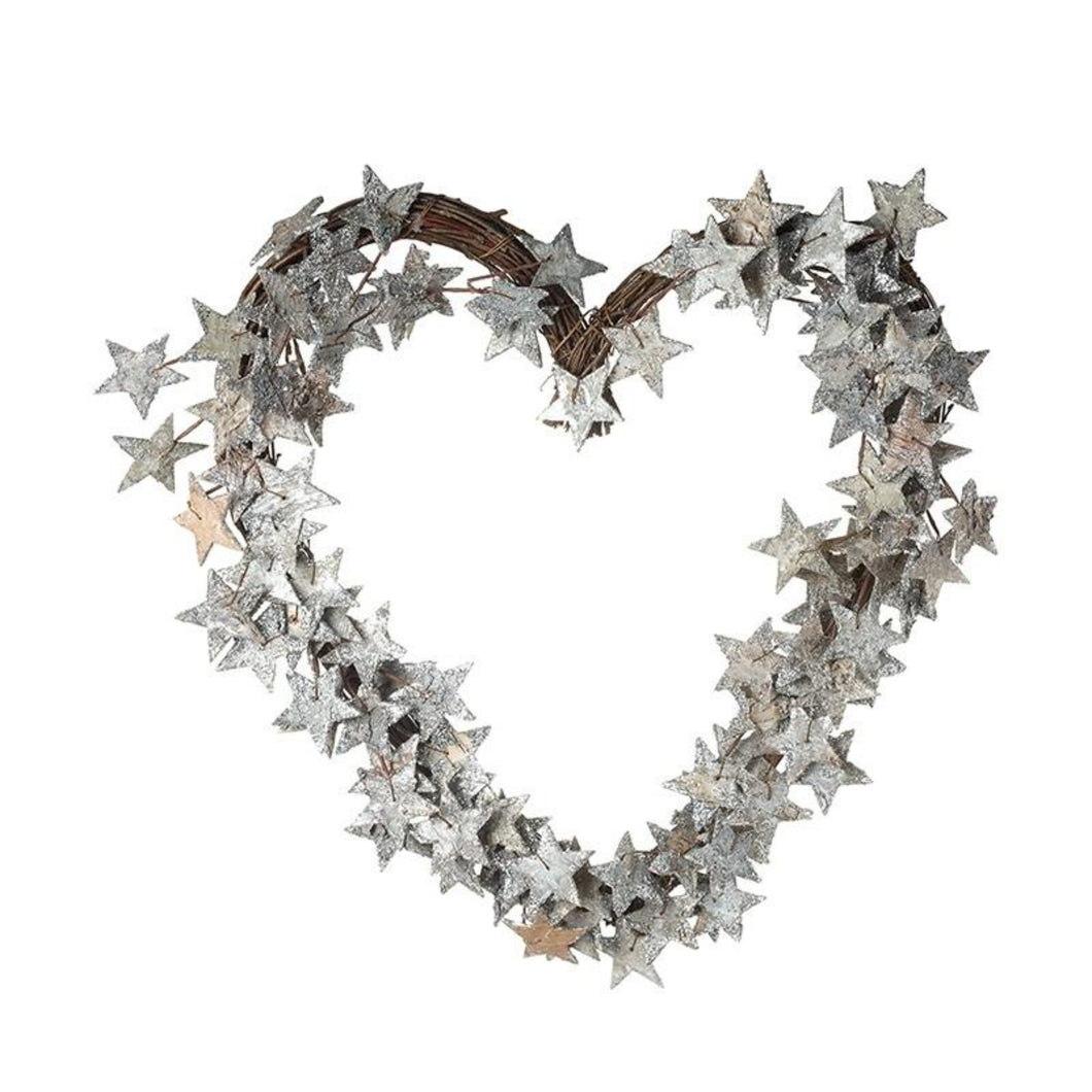 Heart Shaped Silver Star Christmas Wreath