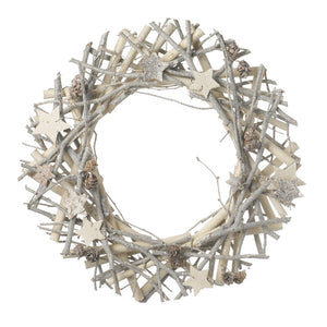 Round Twig & Star Christmas Wreath