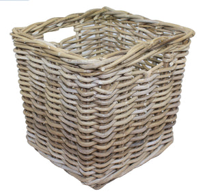 Grey Rattan Square Storage Basket