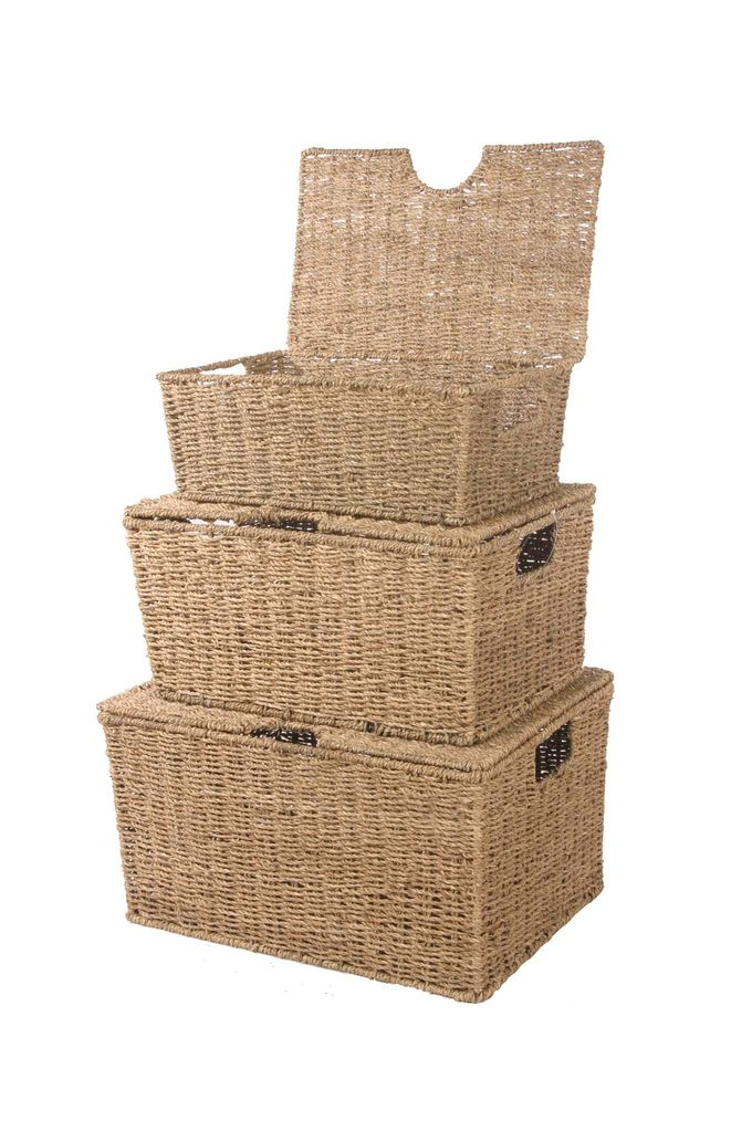 Seagrass Storage Lidded Baskets  - 3 Sizes