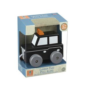 Traditional Wooden Pull Along London Black Cab Toy