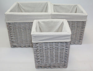 Grey Willow Square Basket