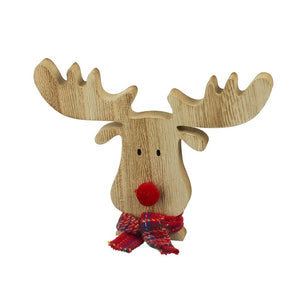 Wooden Reindeer Head & Tartan Scarf Christmas Decoration