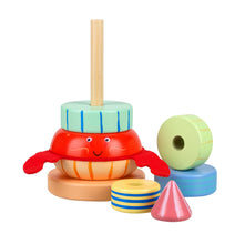 Load image into Gallery viewer, Traditional Wooden Stacking Ring Hermit Crab Toy