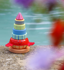 Traditional Wooden Stacking Ring Hermit Crab Toy