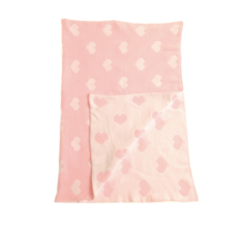 Pink Hearts Chenille Baby Blanket
