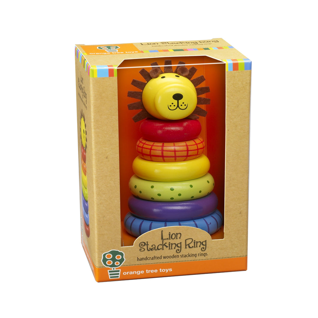 Traditional Wooden Stacking Lion Ring Toy