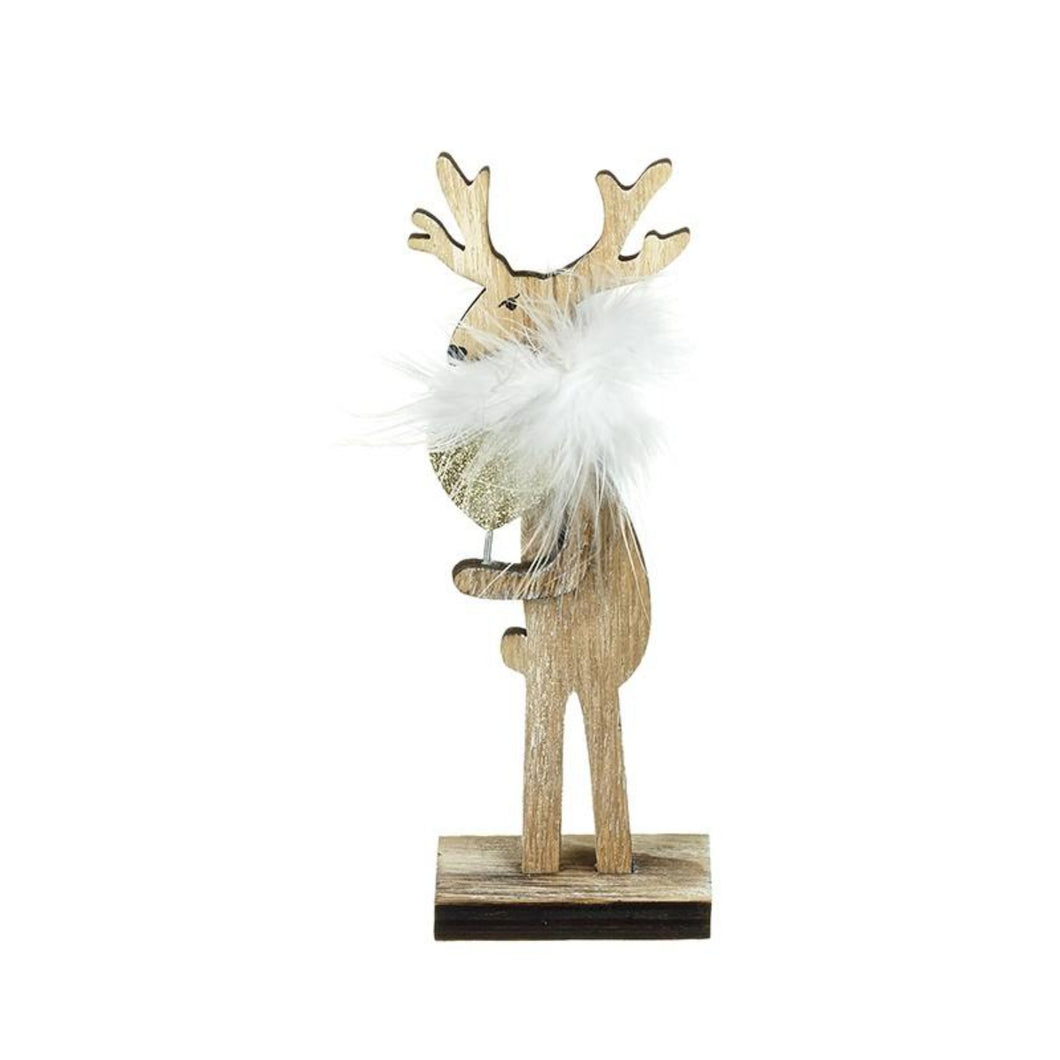 Small Wooden & Fluffy Moose Christmas Decoration