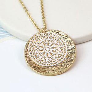 Silver and Gold Plated Decorative Discs Necklace