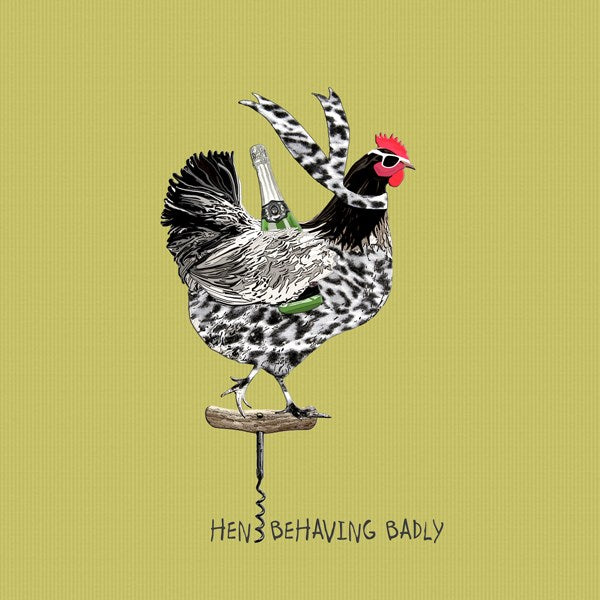 Hens Behaving Badly - Blank Card