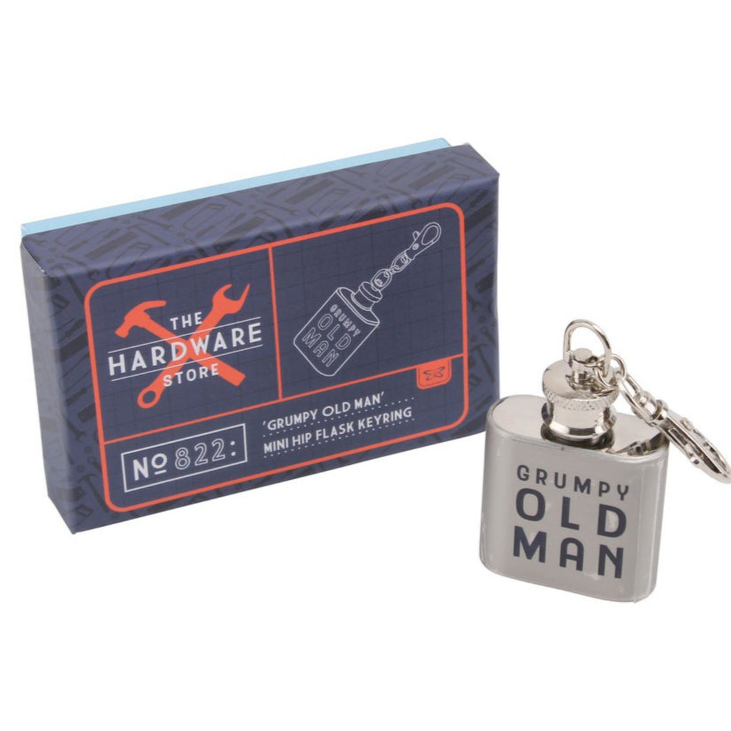 Grumpy Old Man Mini Flask Keyring