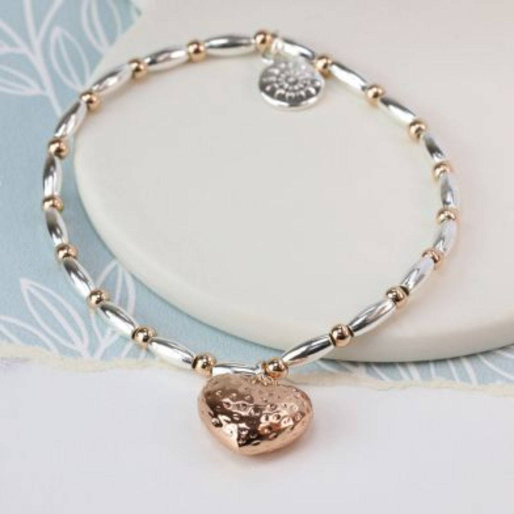 Rose Gold Plated Heart and Mixed Bead Bracelet