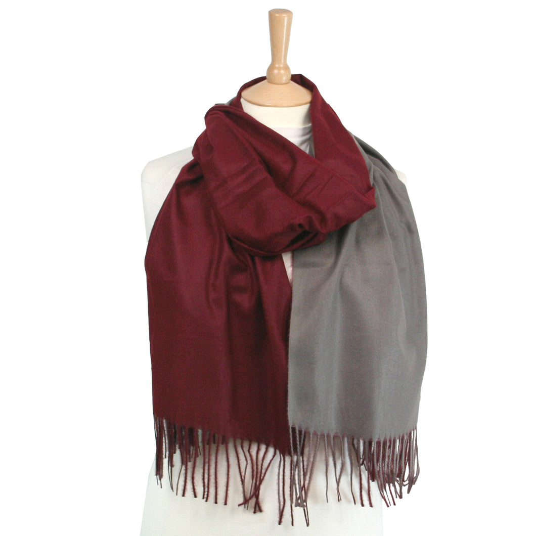 Double Sided Thick Scarf – Burgundy/Grey