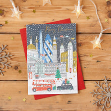 Load image into Gallery viewer, London Skyline Gold Foiled Christmas Card Pack of 8