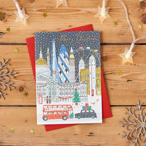 London Skyline Gold Foiled Christmas Card Pack of 8