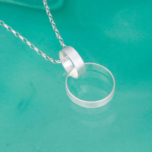 Double Hoop Sterling Silver Necklace