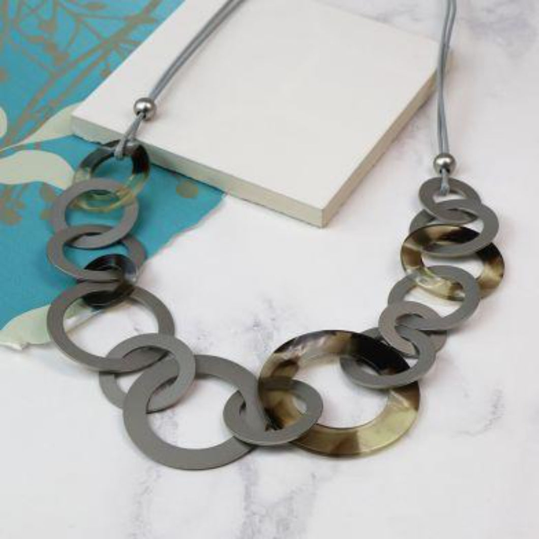 Resin And Rhodium Multi Hoop Necklace