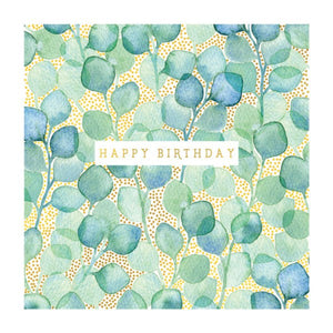 Green Leaves & Gold Dot - Birthday Card