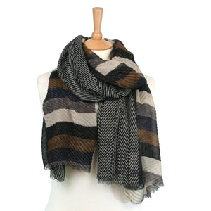 Stripe & Herringbone Crinkle Scarf Blues