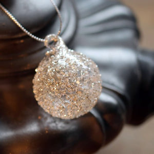 Glass Ball Crushed Silver Bauble