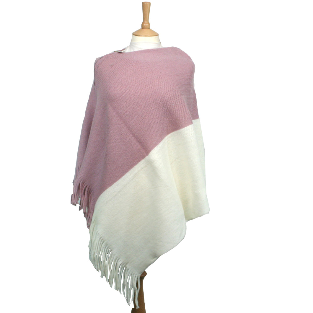 Double Colour Poncho with Zip – Pink and Cream