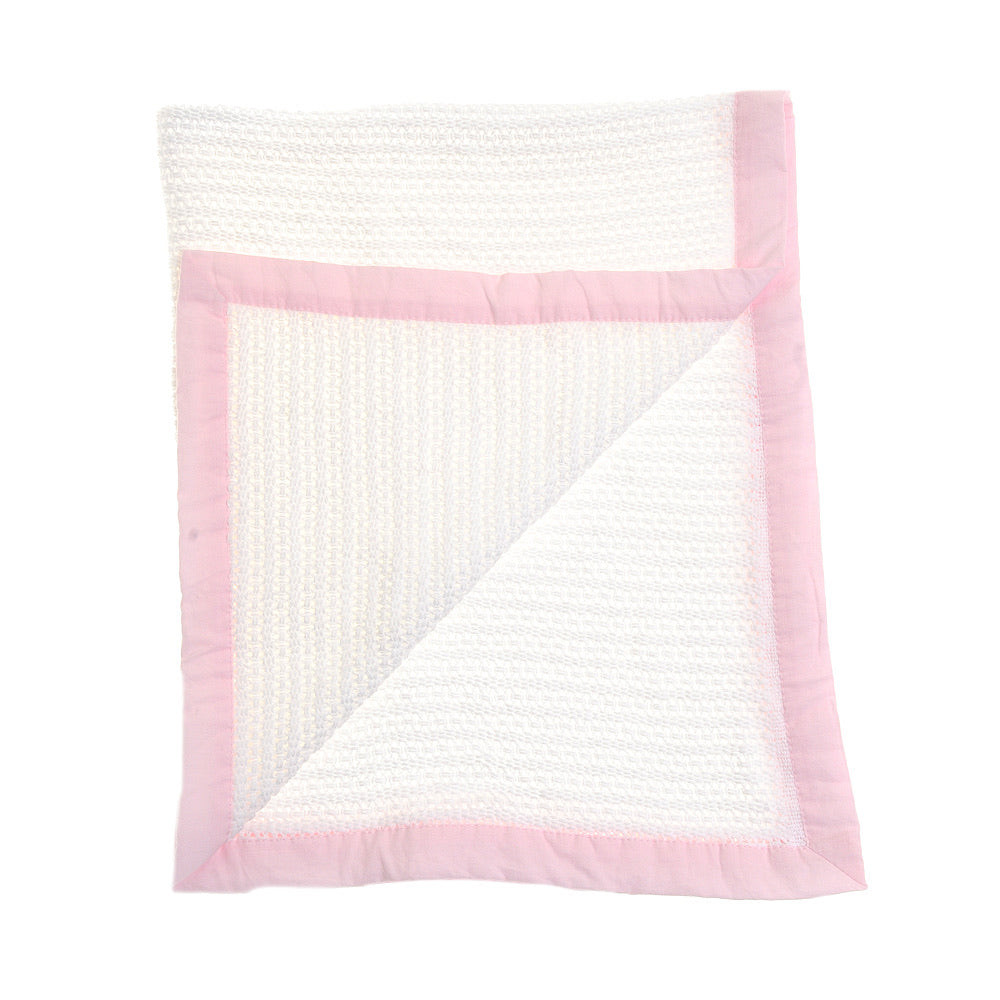 Cellular Blanket- Pink Trim