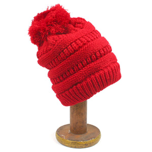Red Pom Pom Childrens Bobble Hat