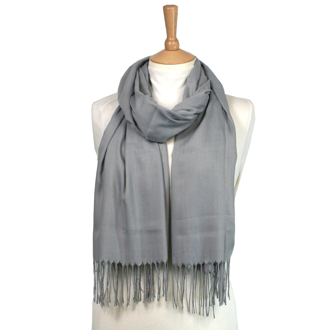 Simple Scarf with Tassels – Silver Grey