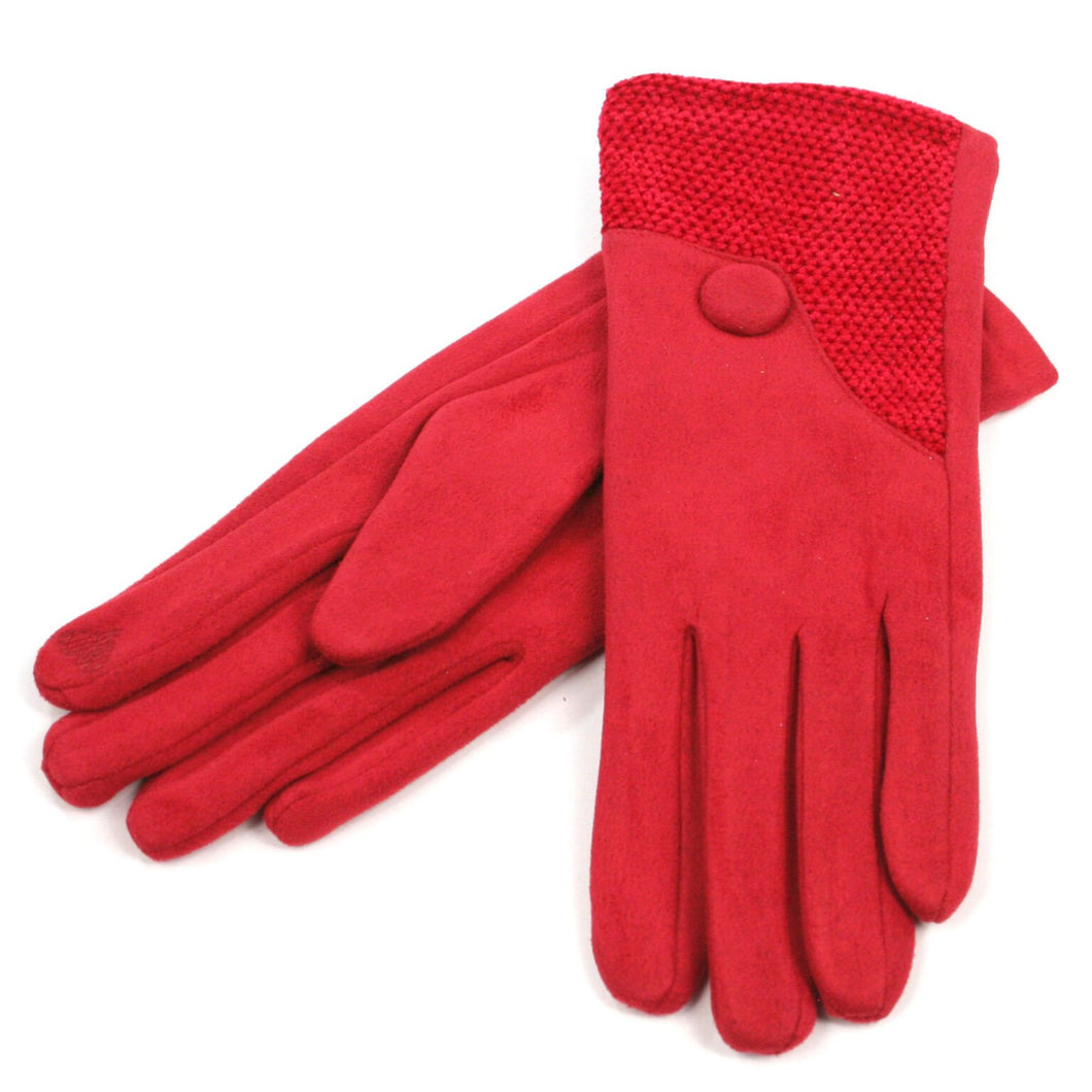 Suede Effect Pattern Detail Gloves – Red