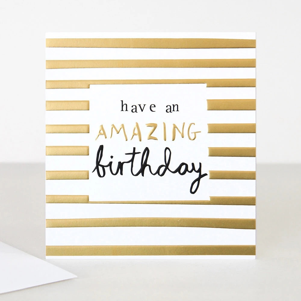 Gold Stripe Birthday Card