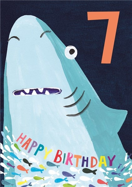 Shark 7th Birthday Card