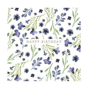 Blue Flower - Birthday Card
