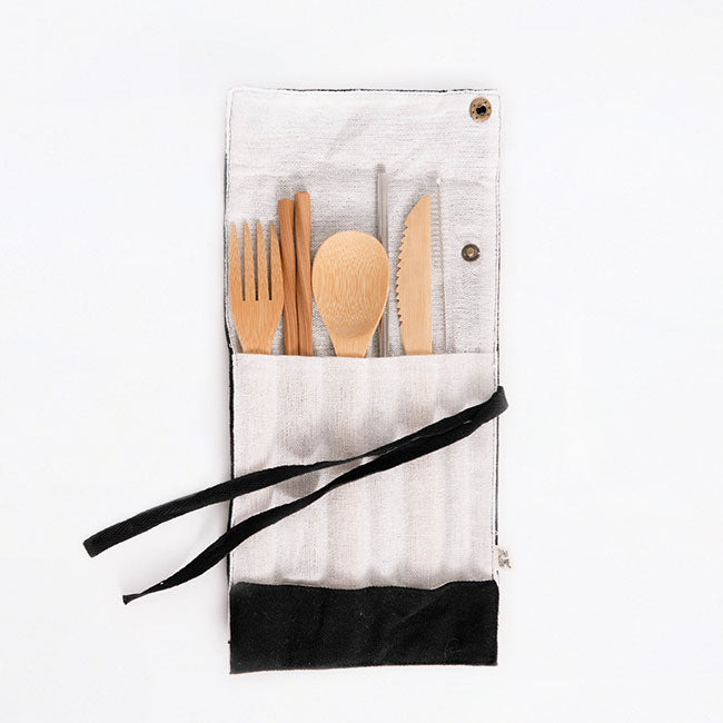 cutlery kit with stainless steel straw