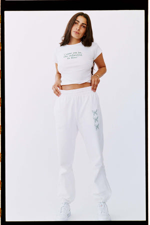BUTTERFLY SWEATPANT | WHITE