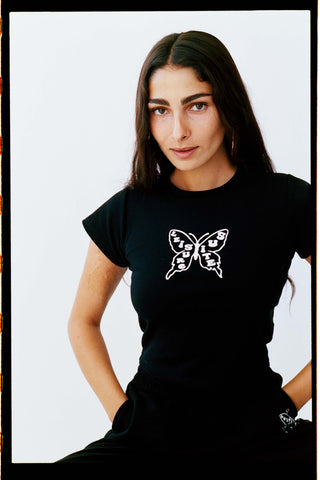 BUTTERFLY BABY TEE | BLACK