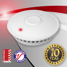 Load image into Gallery viewer, PREORDER. 10 Pack - Interconnected Photoelectric Wireless Smoke Alarms with Lithium Battery + 2 FREE Controllers (GS511E)
