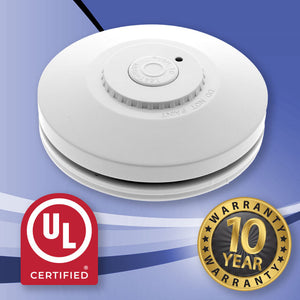 INSTOCK. 5 Pack - Red R10RF Interconnected Photoelectric Wireless Smoke Alarm With Lithium Battery + 1 FREE Controller