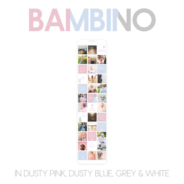 CONTENT SET : BAMBINO (SET A) in dusty pink, dusty blue, grey and white