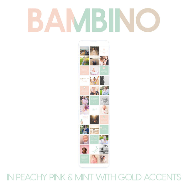 CONTENT SET : BAMBINO (SET A) in peachy pink, mint, white and gold set.