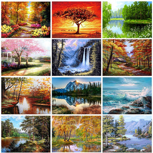 Zalarfe Paint By Number Sets - Nature Scenes 21 Designs