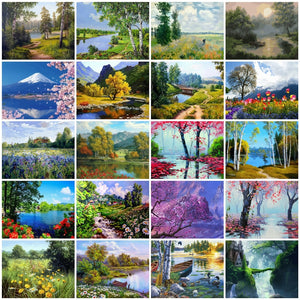 Zalarfe Paint By Number Sets - Nature Scenery 22 Designs