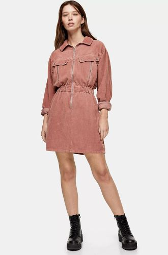 Pink Corduroy Long Sleeve Zip Shirt Dress