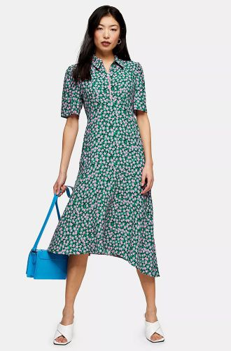 Green Floral Print Tea Dress