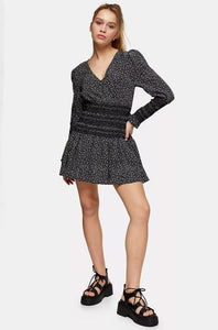 Long sleeve black print mini dress