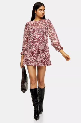 Long Sleeve Burgandy Swing Dress
